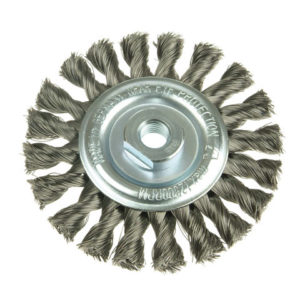 Knot Wheel Brush 115 x 14mm 22.2mm Bore Steel Wire 0.50