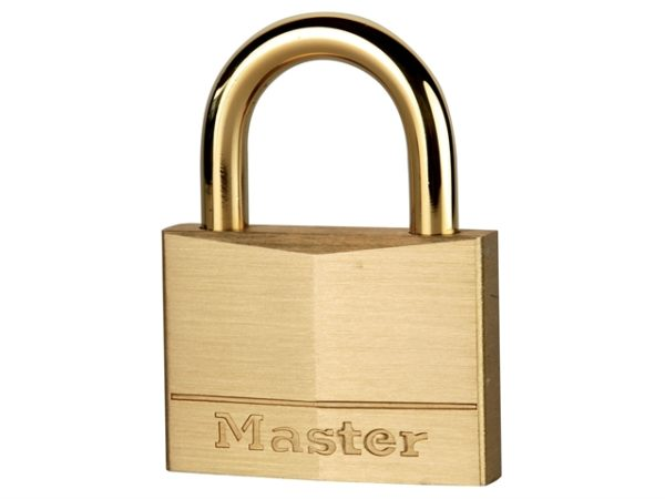 Solid Brass 50mm Padlock with Brass Plated Shackle