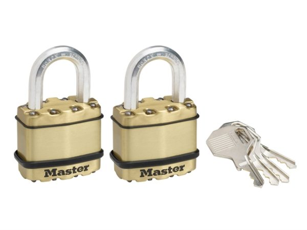 Excell™ Brass Finish 45mm Padlock 4-Pin - Keyed Alike x 2
