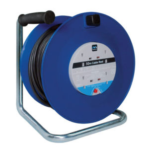 Heavy-Duty Cable Reel 50 Metre 4 Socket 13A Thermal Cut-Out 240 Volt