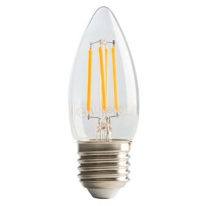 LED ES (E27) Clear Candle Filament Non-Dimmable Bulb 2700K 470 lm 4W