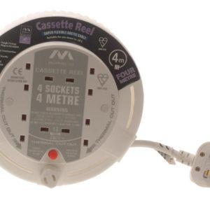 Cassette Cable Reel 4 Metre 4 Socket Thermal Cut-Out White 13A 240 Volt