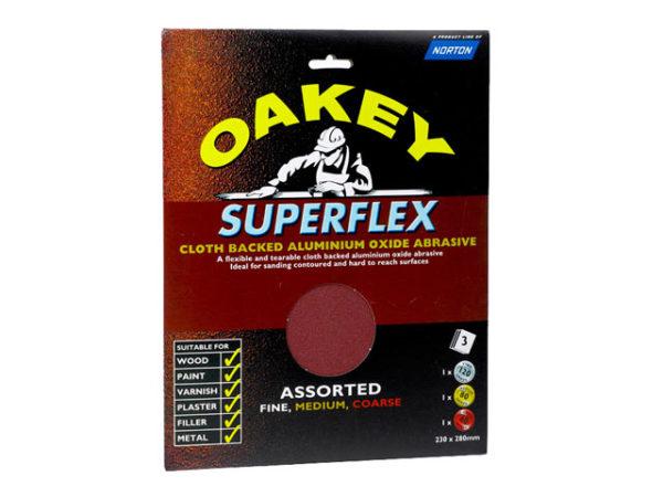 Superflex Cloth Backed Aluminium Oxide Sheets 230 x 280mm Assorted (3)