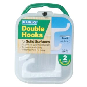 White Double Hooks (Pack 2)