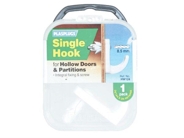White Single Hollow Door Hook (Pack 1)