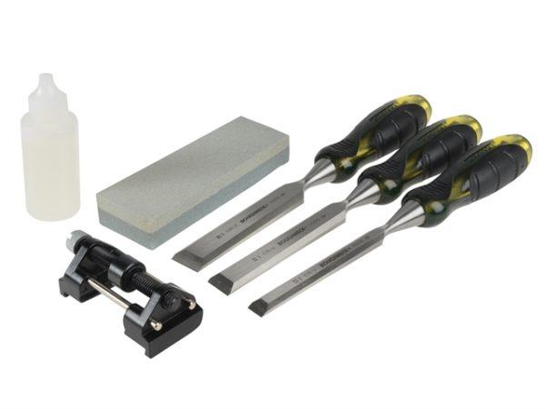 Professional Bevel Edge Chisel Set of 3 & Sharpening Kit 13 19 & 25mm