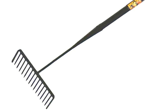 Tarmac Rake 16 Round Teeth - Tubular Steel Shaft Handled