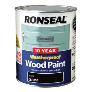 10 Year Weatherproof Wood Paint Black Gloss 750ml