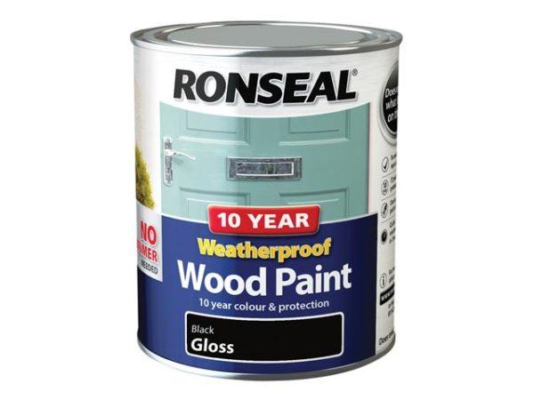 10 Year Weatherproof Wood Paint Black Gloss 750ml