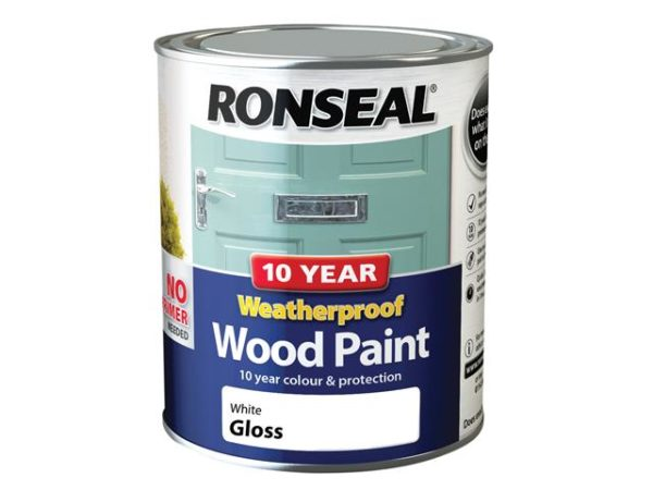 10 Year Weatherproof Wood Paint White Gloss 750ml