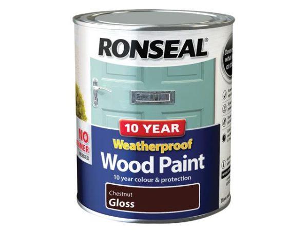 10 Year Weatherproof Wood Paint Chestnut Gloss 750ml