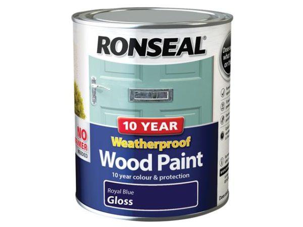10 Year Weatherproof Wood Paint Royal Blue Gloss 750ml