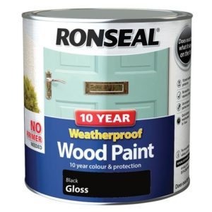 10 Year Weatherproof Wood Paint Black Gloss 2.5 litre