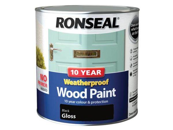 10 Year Weatherproof Wood Paint Black Gloss 2.5 litre