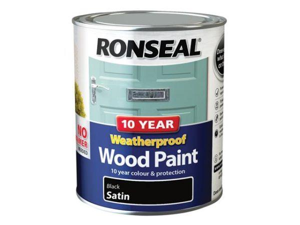 10 Year Weatherproof Wood Paint Black Satin 750ml