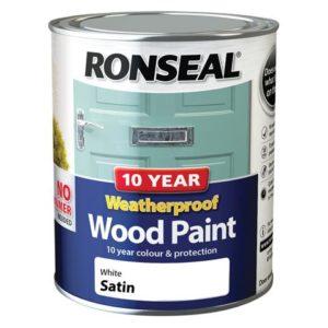 10 Year Weatherproof Wood Paint White Satin 750ml