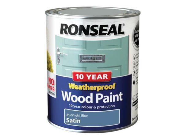 10 Year Weatherproof Wood Paint Midnight Blue Satin 750ml