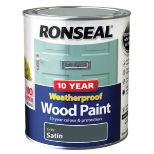 10 Year Weatherproof Wood Paint Grey Satin 750ml