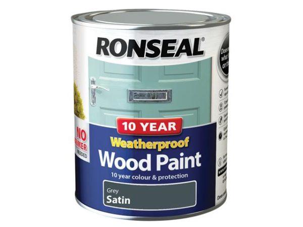 10 Year Weatherproof Wood Paint Grey Satin 750ml