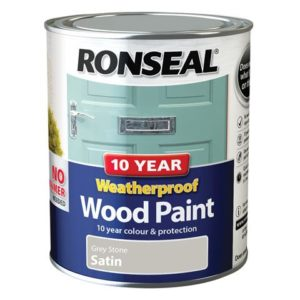 10 Year Weatherproof Wood Paint Grey Stone Satin 750ml