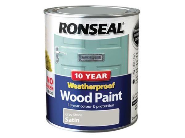 10 Year Weatherproof Wood Paint Grey Stone Satin 750ml