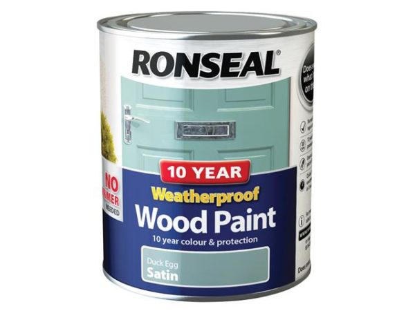 10 Year Weatherproof Wood Paint Duck Egg Blue Satin 750ml