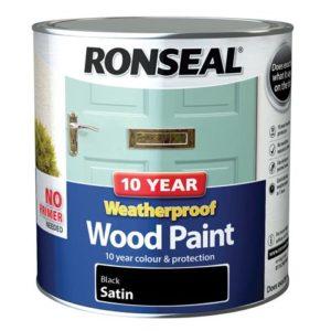 10 Year Weatherproof Wood Paint Black Satin 2.5 litre