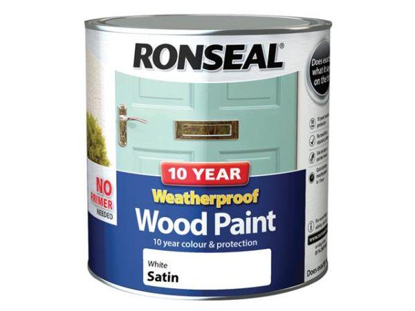 10 Year Weatherproof Wood Paint White Satin 2.5 litre