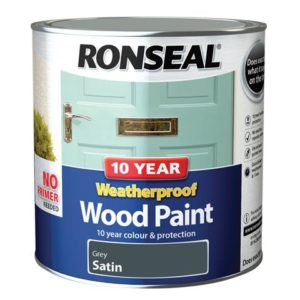 10 Year Weatherproof Wood Paint Grey Satin 2.5 litre