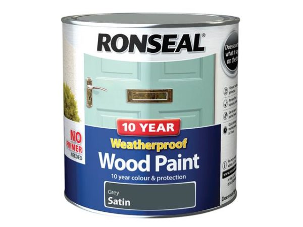 10 Year Weatherproof Wood Paint Grey Satin 2.5 litre