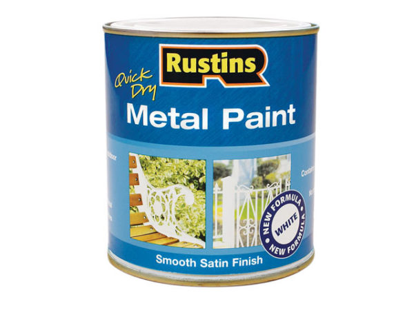 Quick Drying Metal Paint Smooth Satin White 250ml