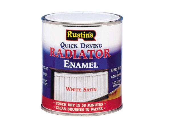 Quick Dry Radiator Enamel Paint Satin White 250ml