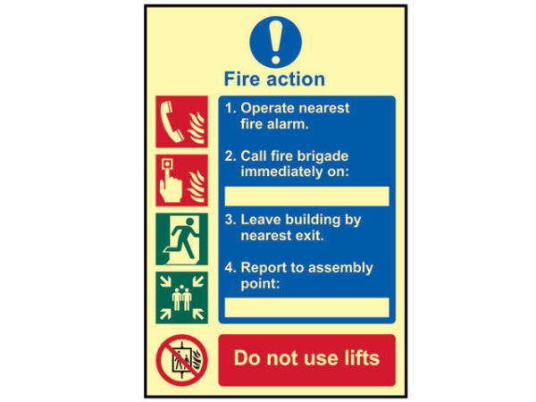 Fire Action Procedure - Photoluminescent 200 x 300mm