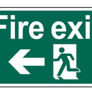 Fire Exit Running Man Arrow Left - PVC 300 x 200mm