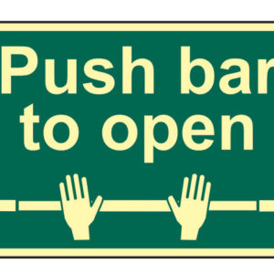 Push Bar To Open - Photoluminescent 300 x 200mm