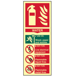 Fire Extinguisher Composite Water - Photoluminescent 75 x 200mm