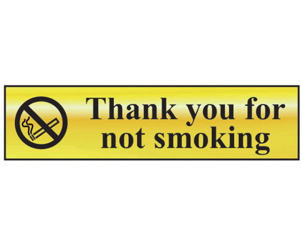 Thank You For Not Smoking - Polished Brass Effect 200 x 50mm