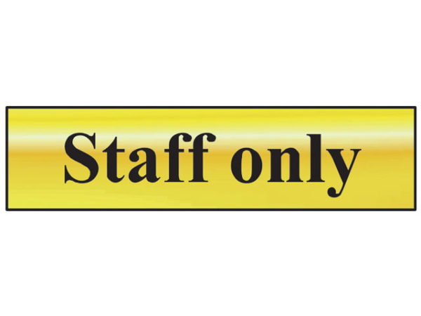 Staff Only - Polished Brass Effect 200 x 50mm