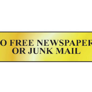 No Free Newspapers Or Junk Mail - Polished Brass Effect 200 x 50mm