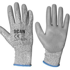 Grey PU Coated Cut 3 Gloves - Large (Size 9)