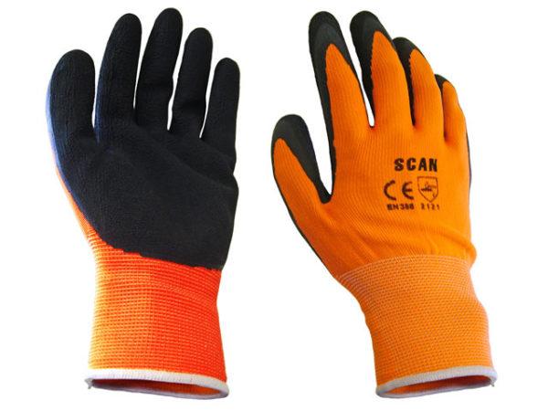Hi-Vis Orange Foam Latex Coated Gloves - Extra Large (Size 10)