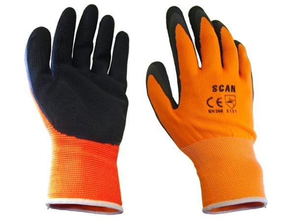 Hi-Vis Orange Foam Latex Coated Gloves - Medium (Size 8)