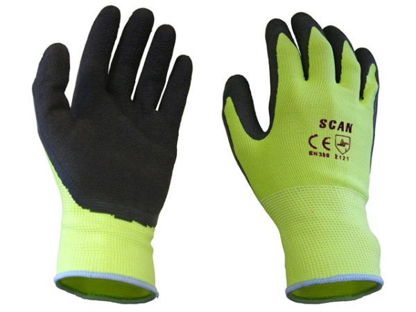 Hi-Vis Yellow Foam Latex Coated Gloves - Large (Size 9)