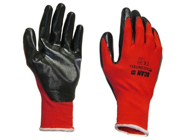 Palm Dipped Black Nitrile Gloves - Large (Size 9)
