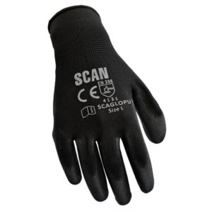 Black PU Coated Gloves - Medium (Size 8) (Pack 12)