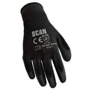 Black PU Coated Gloves - Extra Large (Size 10) (Pack 12)