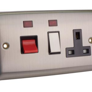 Switched Cooker Control Unit Neon 45A 1 Gang Brushed Steel