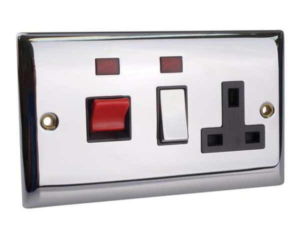 Switched Cooker Control Unit Neon 45A 1 Gang Chrome