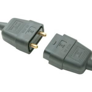 Black Plug & Socket 10A 2 Pin