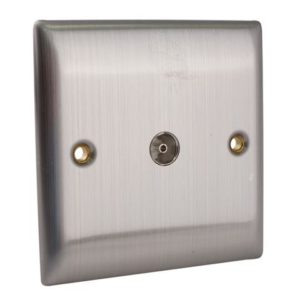 Coaxial TV Socket 1-Gang Brushed Steel